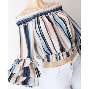 Blue Stripe Smock Off Shoulder Ruffle Blouse Top